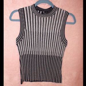 Theory Black and White Crop Top Blouse